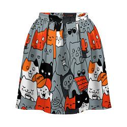 Женская юбка Разноцветные коты