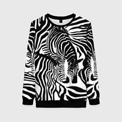 Свитшот женский Полосатая зебра цвета 3D-черный — фото 1