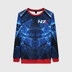 Свитшот женский Mass Effect: Blue Armor N7 цвета 3D-красный — фото 1