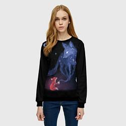 Свитшот женский Лиса и ее дух цвета 3D-черный — фото 2