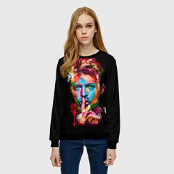 Свитшот женский Дэвид Боуи цвета 3D-черный — фото 2