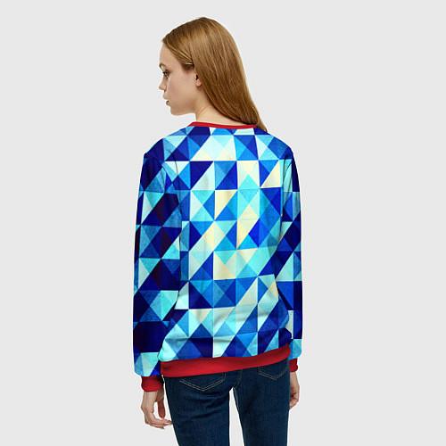 Женский свитшот Синяя геометрия / 3D-Красный – фото 4