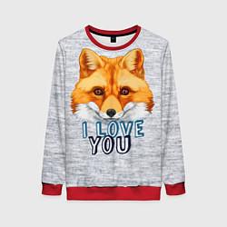 Свитшот женский Милая лисичка! цвета 3D-красный — фото 1