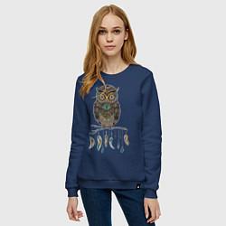 Свитшот хлопковый женский Сова-шаман цвета тёмно-синий — фото 2