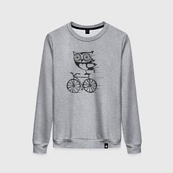 Свитшот хлопковый женский Сова на велосипеде цвета меланж — фото 1