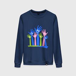 Свитшот хлопковый женский Hands Up цвета тёмно-синий — фото 1