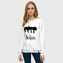Свитшот хлопковый женский The Beatles: Faces цвета белый — фото 2