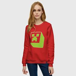 Свитшот хлопковый женский Green Creeper цвета красный — фото 2