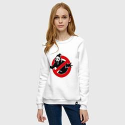 Свитшот хлопковый женский Крик: запрещено цвета белый — фото 2