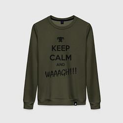Женский хлопковый свитшот с принтом Keep Calm & WAAAGH, цвет: хаки, артикул: 10145914505317 — фото 1