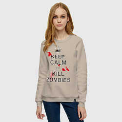 Свитшот хлопковый женский Keep Calm & Kill Zombies цвета миндальный — фото 2
