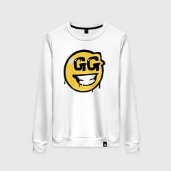 Свитшот хлопковый женский GG Smile цвета белый — фото 1
