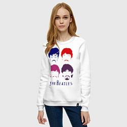 Свитшот хлопковый женский The Beatles faces цвета белый — фото 2