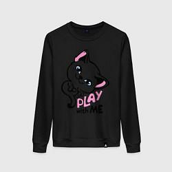 Свитшот хлопковый женский Cat: Play with me цвета черный — фото 1