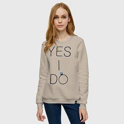 Свитшот хлопковый женский Yes I Do цвета миндальный — фото 2