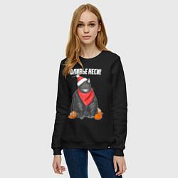 Свитшот хлопковый женский Оливье неси! цвета черный — фото 2