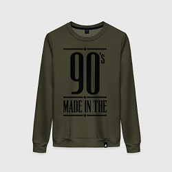 Свитшот хлопковый женский Made in the 90s цвета хаки — фото 1