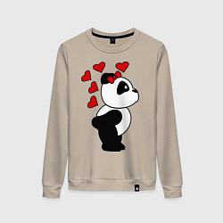 Свитшот хлопковый женский Поцелуй панды: для нее цвета миндальный — фото 1
