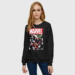 Свитшот хлопковый женский Avengers: Marvel Heroes цвета черный — фото 2