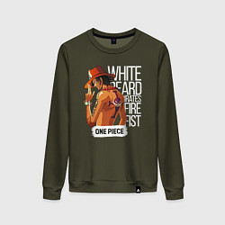 Свитшот хлопковый женский One Piece цвета хаки — фото 1