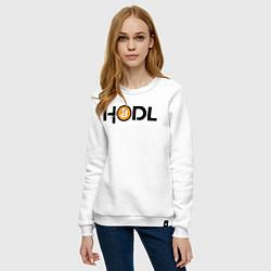Свитшот хлопковый женский HODL Bitcoin цвета белый — фото 2