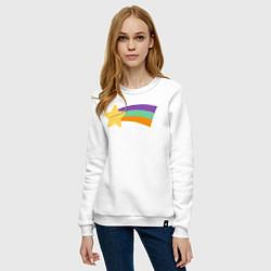 Свитшот хлопковый женский Радужный свитер Мэйбл цвета белый — фото 2