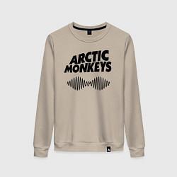 Свитшот хлопковый женский Arctic Monkeys цвета миндальный — фото 1