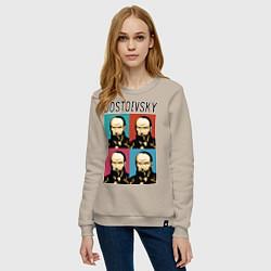 Свитшот хлопковый женский Dostoevsky цвета миндальный — фото 2