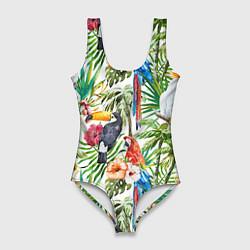 Женский купальник-боди Попугаи в тропиках