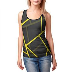 Майка-безрукавка женская Желтая сетка цвета 3D-черный — фото 2