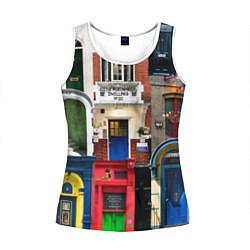Майка-безрукавка женская London doors цифровой коллаж цвета 3D-белый — фото 1