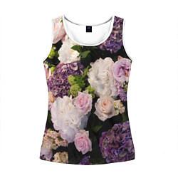 Майка-безрукавка женская Весенние цветы цвета 3D-белый — фото 1