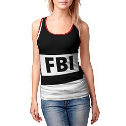 Майка-безрукавка женская Бронежилет FBI цвета 3D-красный — фото 2