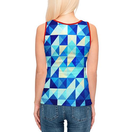Женская майка без рукавов Синяя геометрия / 3D-Красный – фото 4
