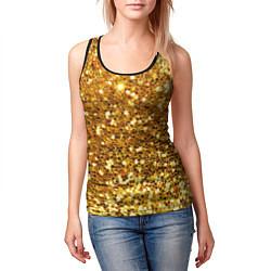 Майка-безрукавка женская Золотое мерцание цвета 3D-черный — фото 2