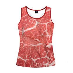 Майка-безрукавка женская Кусок мяса цвета 3D-красный — фото 1