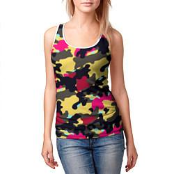 Майка-безрукавка женская Камуфляж: желтый/черный/розовый цвета 3D-белый — фото 2