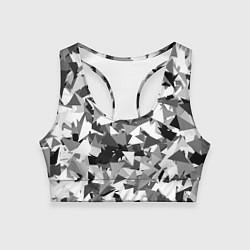 Топик спортивный женский Городской серый камуфляж цвета 3D — фото 1