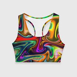 Топик спортивный женский Неоновые разводы цвета 3D — фото 1