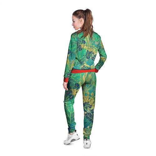 Женская олимпийка Узор из листьев / 3D-Красный – фото 4