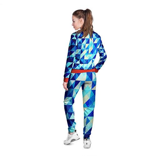 Женская олимпийка Синяя геометрия / 3D-Красный – фото 4