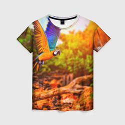 Женская 3D-футболка с принтом Взмах попугая, цвет: 3D, артикул: 10101805103229 — фото 1