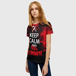 Футболка женская Keep Calm & Kill Zombies цвета 3D — фото 2