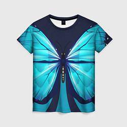 Футболка женская Голубая бабочка цвета 3D — фото 1