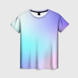 Футболка женская Небесно голубой градиентный цвета 3D — фото 1