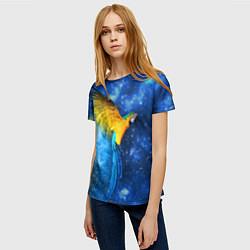 Женская 3D-футболка с принтом Космический попугай, цвет: 3D, артикул: 10065277403229 — фото 2