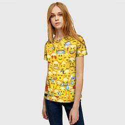 Футболка женская Emoji цвета 3D-принт — фото 2