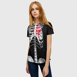 Футболка женская Скелет с сердцем цвета 3D-принт — фото 2
