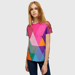 Футболка женская Разноцветные полигоны цвета 3D — фото 2