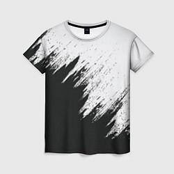 Футболка женская Черно-белый разрыв цвета 3D — фото 1